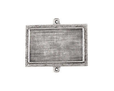 Nunn Design Antique Silver (plated) Horizontal Raised Rectangle Pendant Link 36x31mm