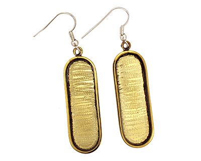 Brass Oval Bezel Earrings 7x38mm