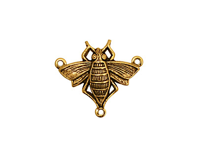 Stampt Antique Gold (plated) Queen Bee 3-Ring Connector 20x17.5mm
