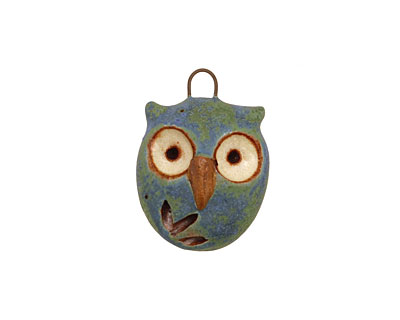 Kylie Parry Ceramic Blue Earth Hoot Owl Charm 19x26mm