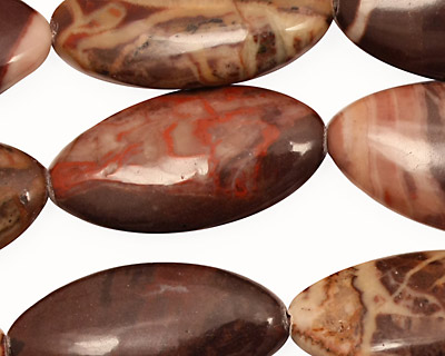 Red Conglomerate Jasper Horse Eye 30x15mm