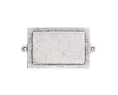 Nunn Design Antique Silver (plated) Raised Tag Rectangle Connector 45x25mm