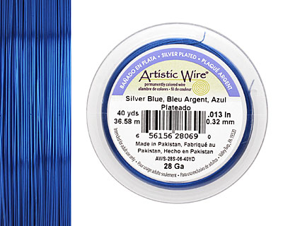 Artistic Wire Silver Plated Silver Blue 28 gauge, 40 yards