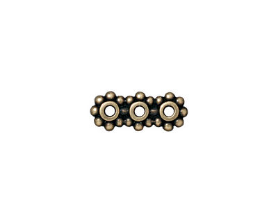 TierraCast Antique Brass (plated) Beaded 3-Hole 6mm Heishi Bar 15x6mm