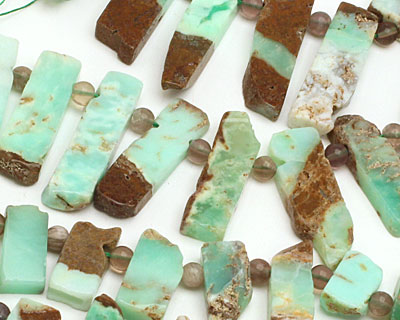 Chrysoprase Graduated Rectangle Drop 10x20-55mm