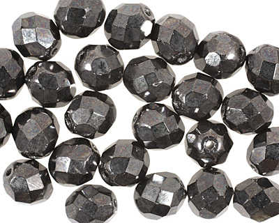 Czech Fire Polished Glass Hematite Round 8mm
