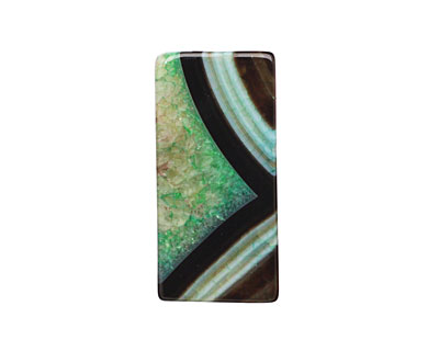 Black & Apple Green Rectangle Pendant 42-45x22-24mm