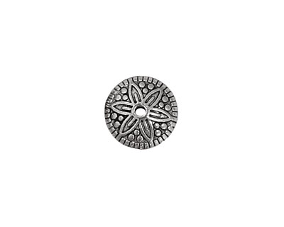 Pewter Daisy w/ Dots Rondelle 6x12mm
