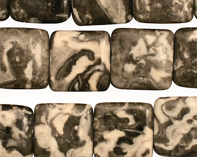 Black Tree Agate Puff Square 15mm