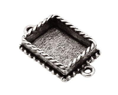 Nunn Design Antique Silver (plated) Mini Ornate Rectangle Bezel Link 24x14mm