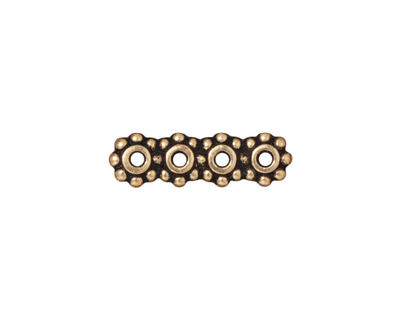 TierraCast Antique Gold (plated) Beaded 4-Hole 6mm Heishi Bar 21