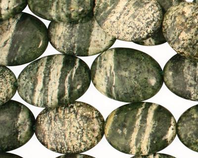Green Zebra Jasper Flat Oval 16x12mm