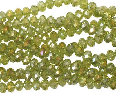 Olivine AB Crystal Faceted Rondelle 4mm