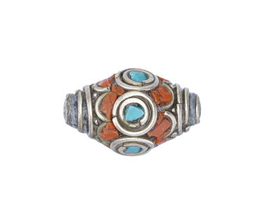 Tibetan White Brass w/ Orange Coral & Turquoise Mosaic Petal Rice Bead 22x14mm