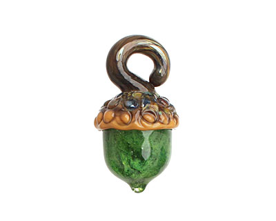Grace Lampwork Green Grass Acorn 17x28mm