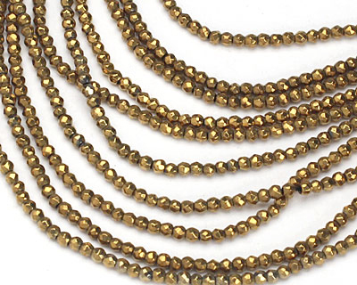Metallic Gold Hematite (plated) Faceted Round 2mm
