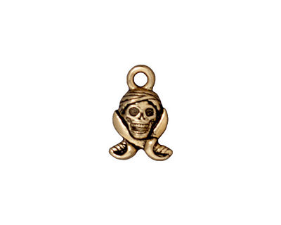 TierraCast Antique Gold (plated) Pirate Skull Charm 10x16mm