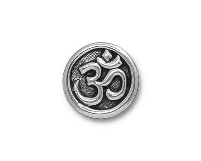 TierraCast Antique Silver (plated) Om Button 17mm