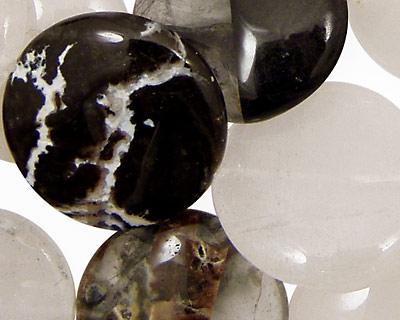 Black Rustic Quartz Puff Coin 25mm