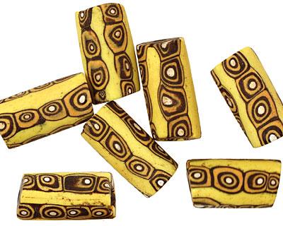 African Trade Bead (yellow w/ black & orange swirl) Tube 14-23x10-11mm