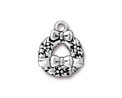 TierraCast Antique Silver (plated) Wreath & Bow Toggle Clasp 16x20mm, 16x4mm bar.