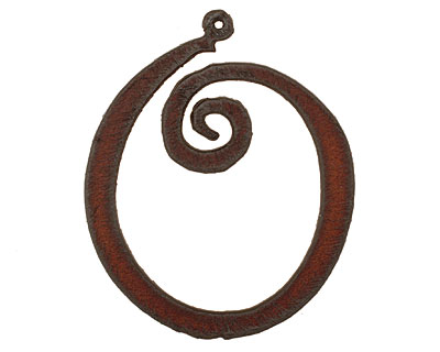 The Lipstick Ranch Rusted Iron Letter O Pendant 43x52mm