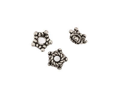 Antique Silver (plated) Bead Star Bead Cap 4x9mm