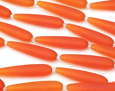Tangerine Recycled Glass Teardrop Strand 37x8mm