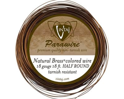 Vintaj Natural Brass Half Round Parawire 18 gauge, 21 feet