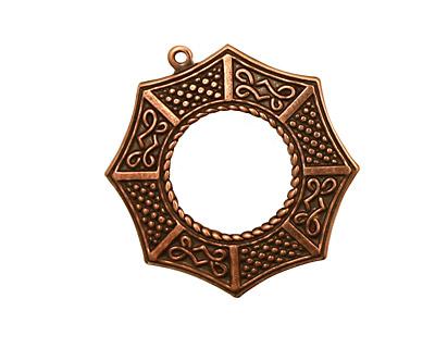 Stampt Antique Copper (plated) Bagua Pendant 24x26mm