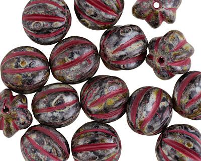 Czech Glass Dark Garden w/ Red Melon Round 10mm