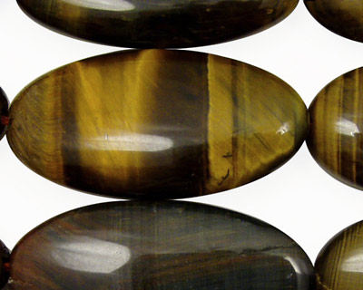 Tiger Eye with Blue Flat Oval 40x20mm