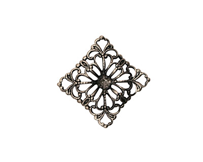 Stampt Antique Pewter (plated) Floral Square Filigree 15mm