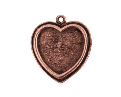Nunn Design Antique Copper (plated) Traditional Heart Bezel Pendant 23x27mm