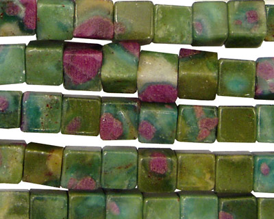 Fuchsite Ruby Cube 6mm
