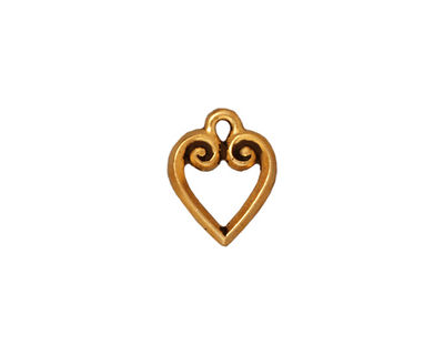 TierraCast Antique Gold (plated) Heart Charm 10x13mm