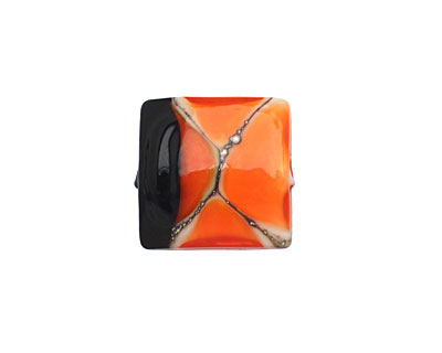 A Beaded Gift Marbled Orange Pillow 15-16mm