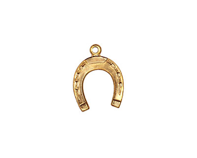 Brass Horseshoe Charm 12x15mm