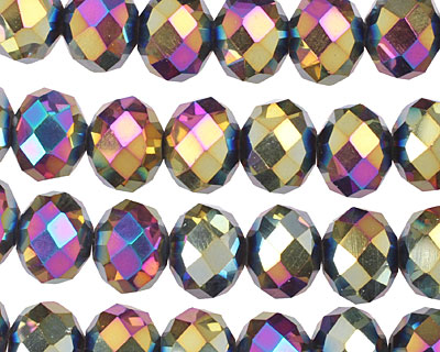Metallic Peacock Crystal Faceted Rondelle 10mm