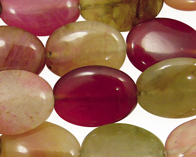 Rainbow Soochow Jade Flat Oval 20x15mm
