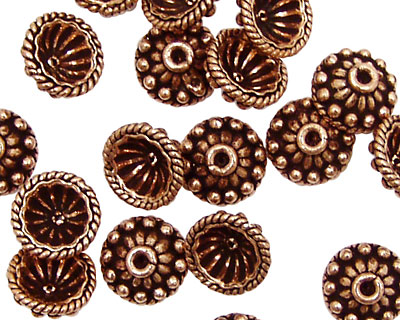 Antique Copper Fluted Bead Cap w/ Roped & Beaded Rings 10mm