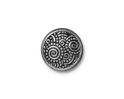 TierraCast Antique Pewter (plated) Spirals Snap Cap 15mm