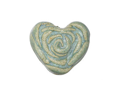 Gaea Ceramic Out of the Blue on Buff La Vie En Rose Heart 20-21x22-23mm