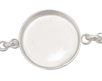 Silver (plated) Circle Bezel Link Bracelet 27mm