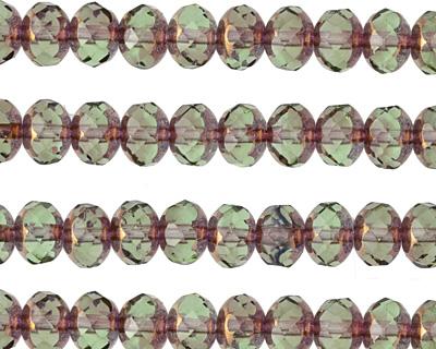 Czech Glass Bronzed Prairie Green Fire Polished Rondelle 5x7mm