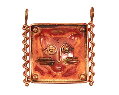 Patricia Healey Copper Cat in Frame Pendant w/ 2 Loops 42x44mm