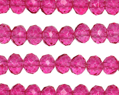 Lipstick Pink Luster Crystal Faceted Rondelle 6mm