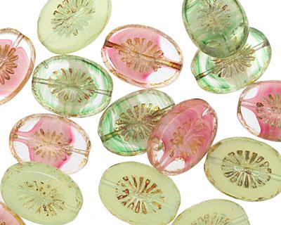 Czech Glass Water Lily Oval w/ Star Window 14x10mm