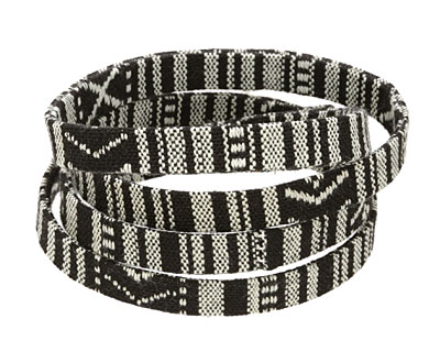 Black & White Flat Woven Cotton Cord 10mm