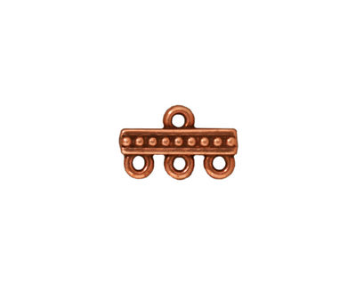 TierraCast Antique Copper (plated) Beaded 3-1 Link 15x9mm